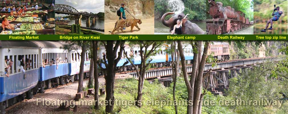 1 Day Tour Floating Market Hellfire pass Death railway Bridge on the river Kwai Tigers and Elephants