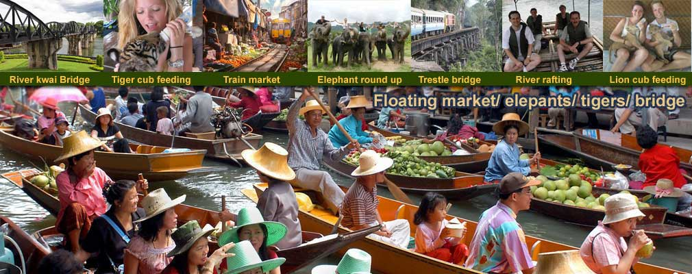 Floating Market Tiger ParkTigers Lions Leopard cubs and Elephants Training bath and Bridge on the River Kwai