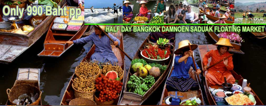 Group half tour Floating Market Damnoen Saduak half day tour