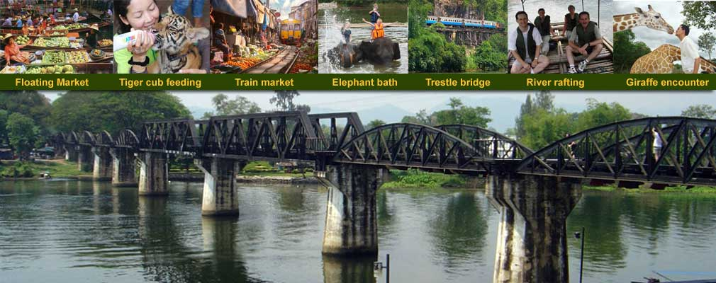 FTH: 1 Day Tour Floating Market Hellfire pass Death railway Bridge on the river Kwai Tiger Safari Park and Elephants
