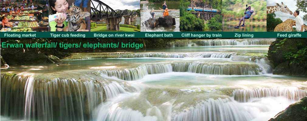 Erawan waterfall Floating Markets Tiger Safari Park Bridge on the River Kwai