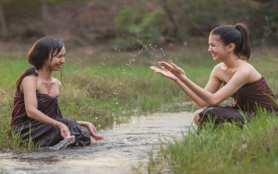 Girls in Paddy field