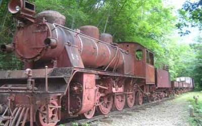 Jap train rusting away in jungle